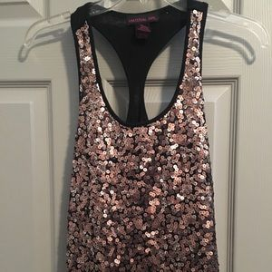Material Girl sequined tank.